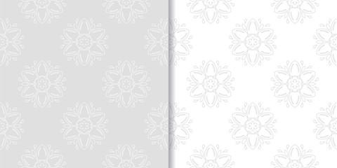 Light gray set of floral seamless patterns