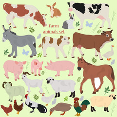 A set of farm animals with plants