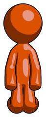 Orange Design Mascot Man kneeling front pose