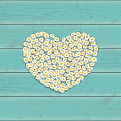 Herz aus Gänseblümchen auf türkisfarbenem Holz Hintergrund