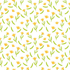 Flower illustration, seamless pattern