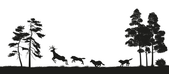 Black silhouettes of forest animals. Flock of wolves hunts a deer. Isolated landscape. Wildlife scene. Vector illustration