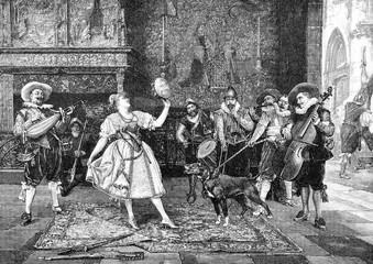 Künstler und Musikgruppe geben eine Aufführung im Schloss