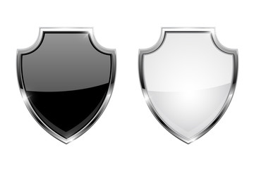 Metal 3d shields. Black and white glass icons with chrome frame