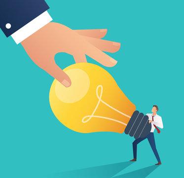 business hand stealing idea light bulb. plagiarism concept business vector illustration