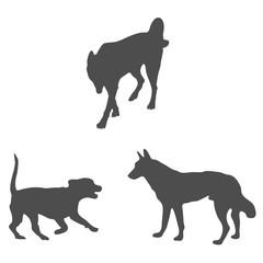 dog shadows. dark animal image in vector