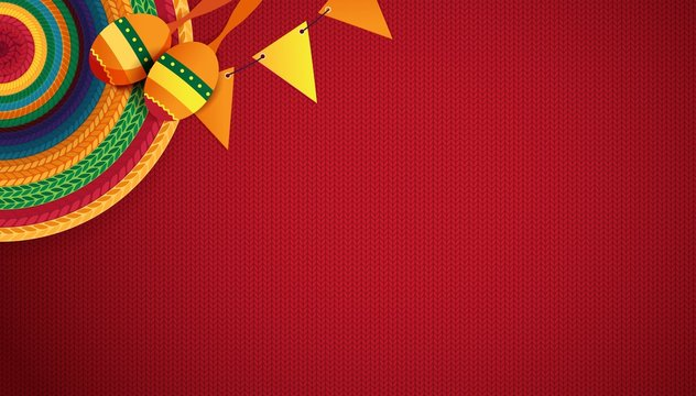 Mexican holiday background. Sombrero, macaras on red background. Top view. Vector illustration