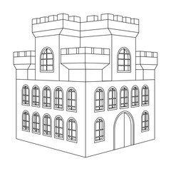 Castle. Outline drawing of a building with multiple windows