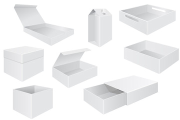 White boxes. Set of different packaging