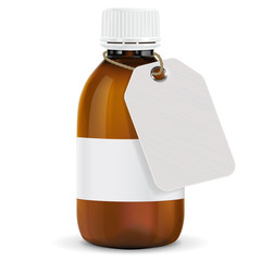 Brown plastic bottle with paper tag. Blank title shield