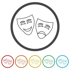 Theater mask isolated icon, 6 Colors Included
