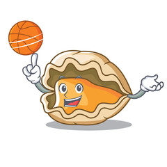 With basketball oyster character cartoon style