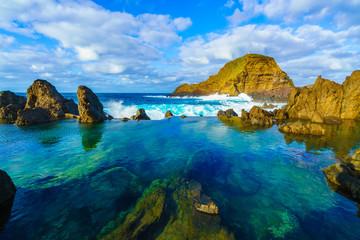 Wall Mural - Natural volcanic lagoon  pools at Porto Moniz, Madeira island, Portugal