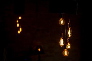 chandelier in loft style. Tungsten loft lamps