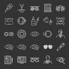 Ophtalmology chalk icons set