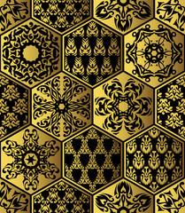 Patchwork vintage golden pattern. Original design