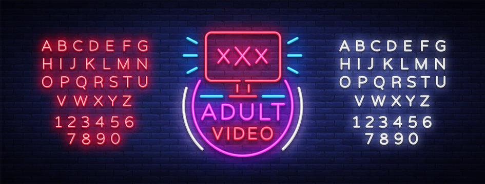 Adult video neon sign. Design template, neon logo xxx video, sex industry, light banner, night bright light advertisement. Vector illustration. Editing text neon sign
