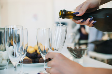 wedding champagne spills the witness