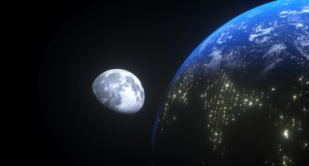 3D Rendering Of Realistic View From The Earth To The Moon The Elements Of This Image Furnished By NASA For Textures