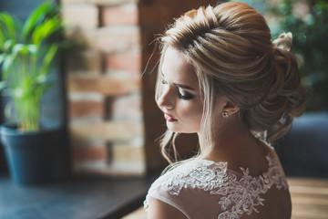 Bride portrait closeup in interior