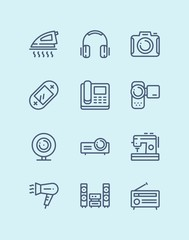 Outline Household electronic appliances, technics, gadget device icons for web and mobile design pack 3