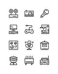 Household electronic appliances, technics, gadget device icons for web and mobile design pack 4