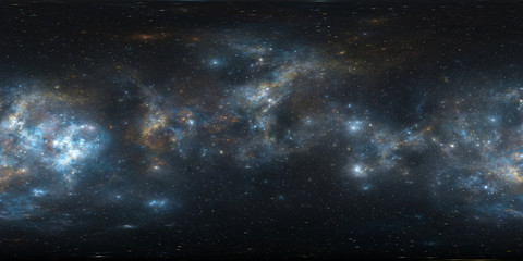360 Equirectangular projection. Space background with nebula and stars. Panorama, environment map. HDRI spherical panorama.