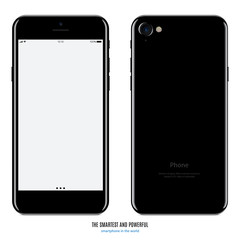 smartphone in black color with blank screen and back side on white background. stock vector illustration eps10