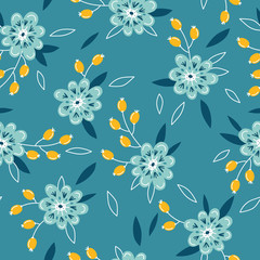 Vector seamless background pattern with flowers