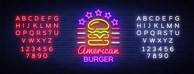 Burger logo vector. American burger, design template light emblem, burger street food neon sign, light banner, neon night fast food advertisement, design element sandwich. Editing text neon sign Fotomurales