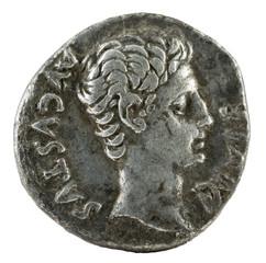 Ancient Roman silver denarius coin of Emperor Augustus. Obverse.