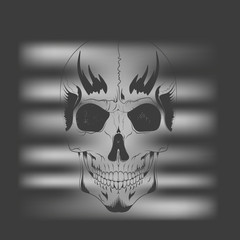 vector t-shirt design concept. the silhouette of a human skull looking through the lighted grille shutters on a black background
