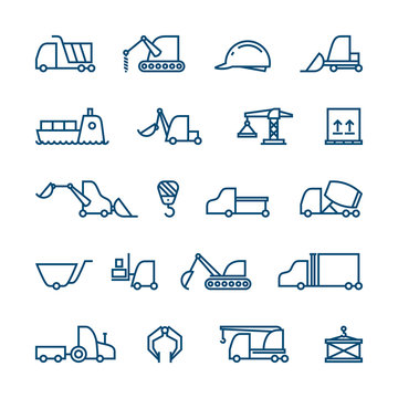 Outline Industrial Vector Icon Set with Construction Machinery and Trucks