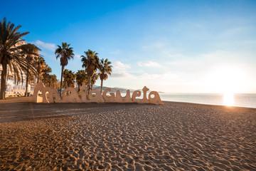 La Malagueta public beach (Playa de La Malagueta) at sunrise