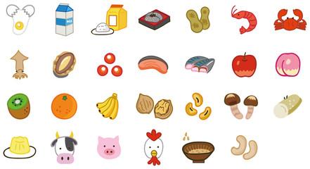 食物アレルギー特定原材料等27品目のイラスト素材(特定原材料7品目・表示推奨20品目)