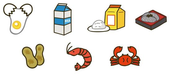 食物アレルギー 特定原材料7品目のイラスト素材