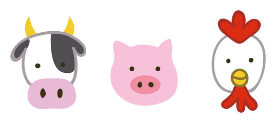 牛・豚・鶏のイラスト素材