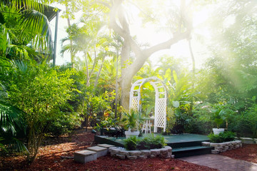 House courtyard and the garden of the Ernest Hemingway Home and Museum in Key West, Florida.