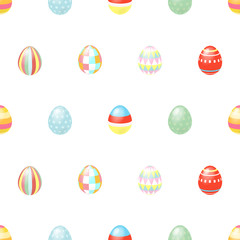 Happy Easter. Happy holiday eggs pattern, seamless background for your greeting card design. Cute decorated easter eggs.
