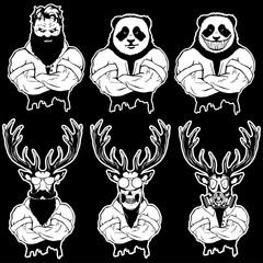 Vector illustration of a set strong wild animal - men.
