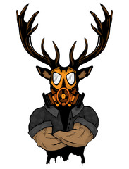 Steep fashionable deer Hipster animal. Vintage style illustration for tattoo, logo, emblem