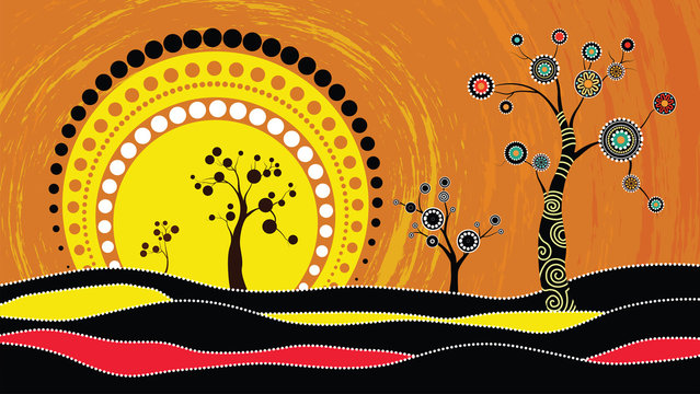 Tree on the hill, Aboriginal tree, Aboriginal art vector painting with tree and sun. Illustration based on aboriginal style of dot background.