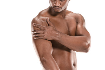 Fit young man with beautiful torso isolated on white background