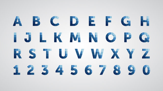 English font from abstract pixel square elements in the form of a mosaic, letters of the alphabet