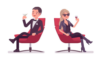 Secret agent gentleman and lady spy of intelligence service relaxing
