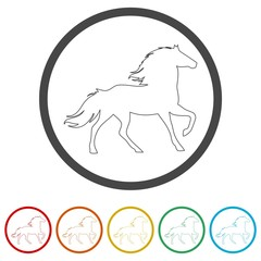 Horse silhouette - Vector - Illustration, 6 Colors Included