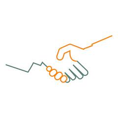 Logotipo manos unidas lineal en gris y naranja