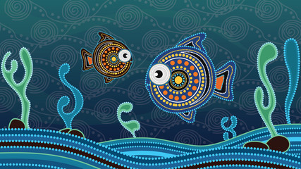 Aboriginal dot art painting with fish. Underwater concept, Landscape background wallpaper vector illustration