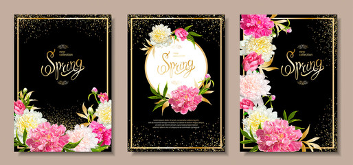 Set of three floral compositions with peonies, buds, green leaves on a black background with golden glitters. Inscription Spring in a center. Template for greeting card, banner, Wedding invitation