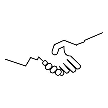 Logotipo manos unidas lineal en color negro